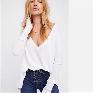 Free people white thermal v neck